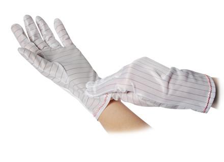 Polyester handske uden ribkant, med dupper, 10 par