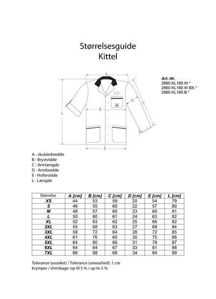 Dame- og Herre-kittel, Kort - KL-160 med applikationer