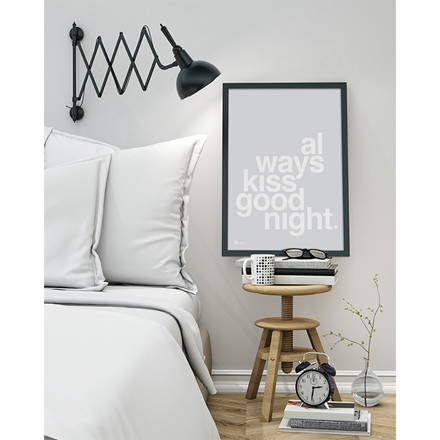 By Krohn plakat Always Kiss Goodnight Grey