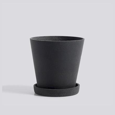 HAY Flowerpot Urtepotte Med Underkop Sort