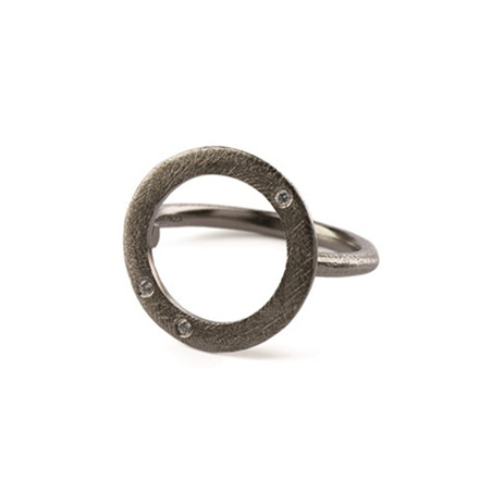 Pernille Corydon Open Coin Stone Ring Ruthenium