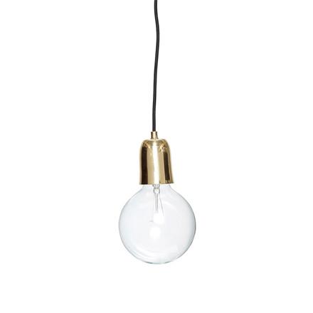 Hübsch Lampe Messing m. Sort Ledning