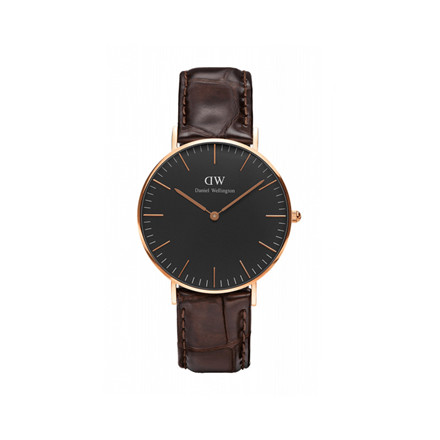Daniel Wellington Dameur Classic Black York Rosa Guld