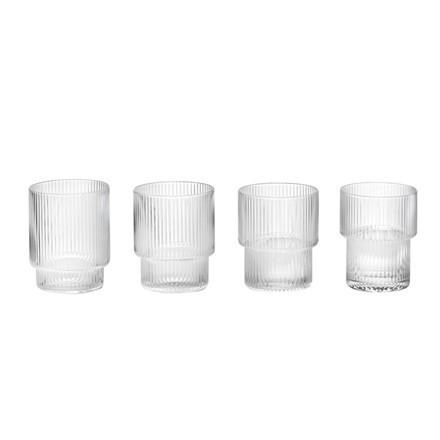 Ferm Living Glas Ripple Sæt med 4 stk