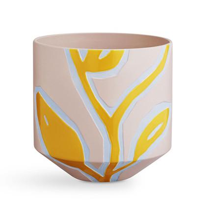 Kähler Fiora krukke pink og gul