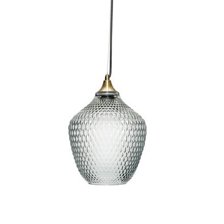 Hübsch Lampe Messing-Blå Glas