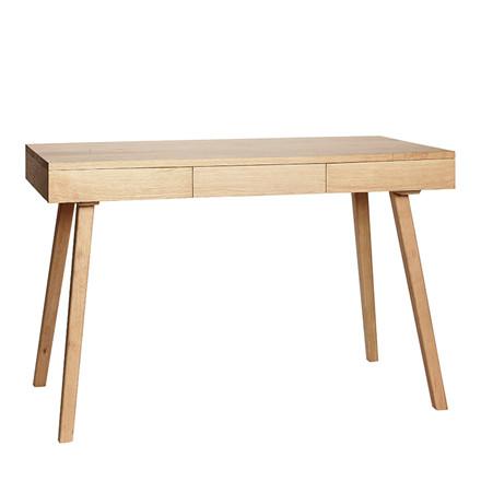 Hübsch Skrivebord i egetræ m. 3 skuffer