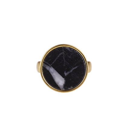 Plissé Copenhagen Ring Guld Sort Marmor