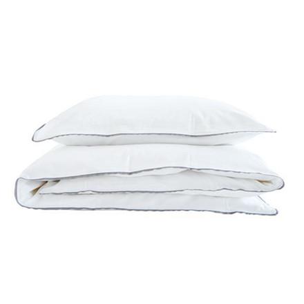 SemiBasic Sengetøj Hvid/grå kant 140 x220 cm
