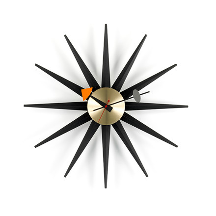Vitra Ur Sunburst Sort med messing