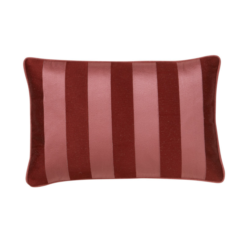 Bungalow Stripe Broderet Pude Blush