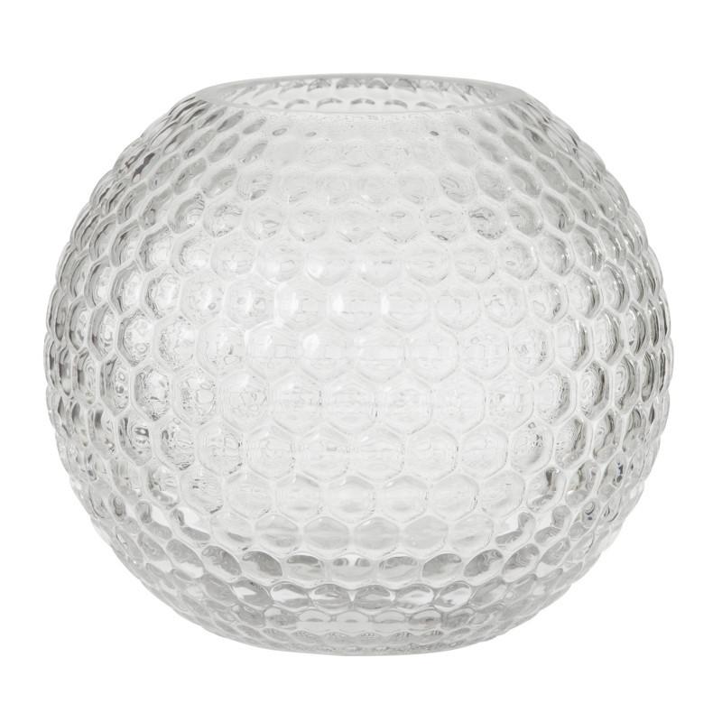 Bungalow Round Diamond Vase H16 cm. Klar