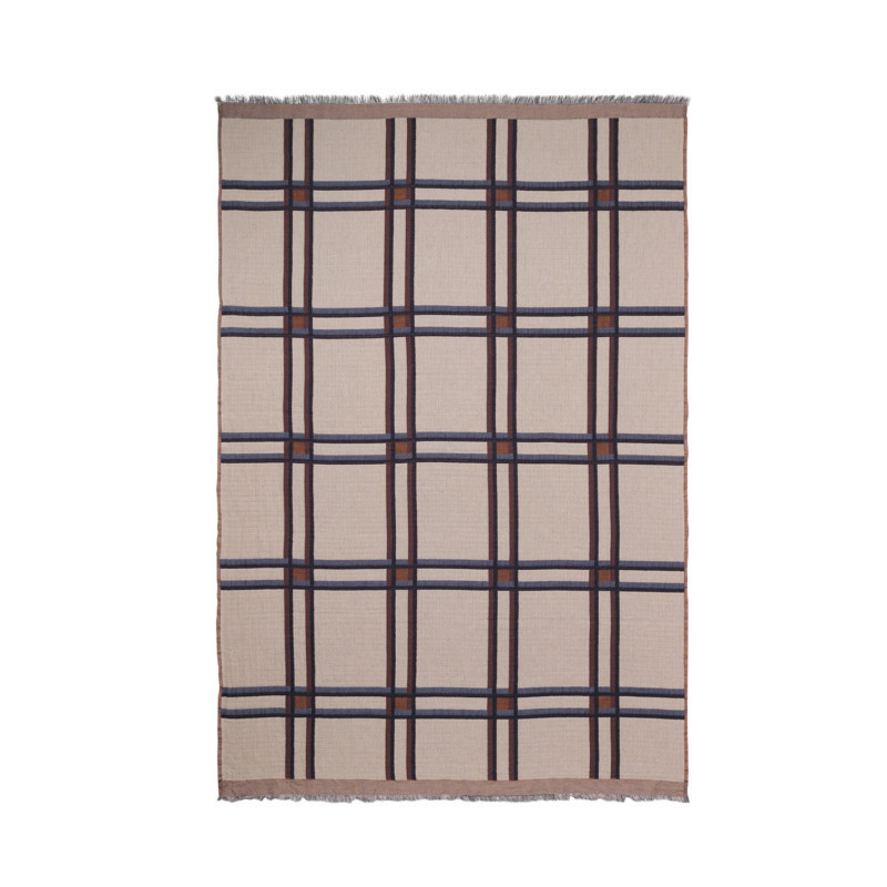 Ferm Living Checked Wool Blend Plaid Beige