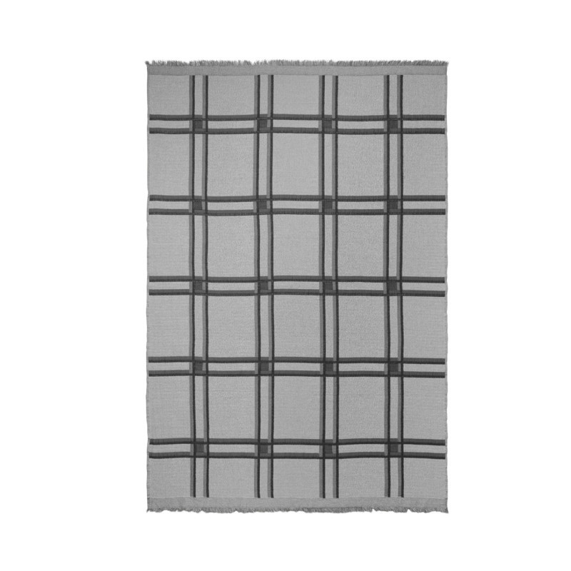 Ferm Living Checked Wool Blend Plaid Grå