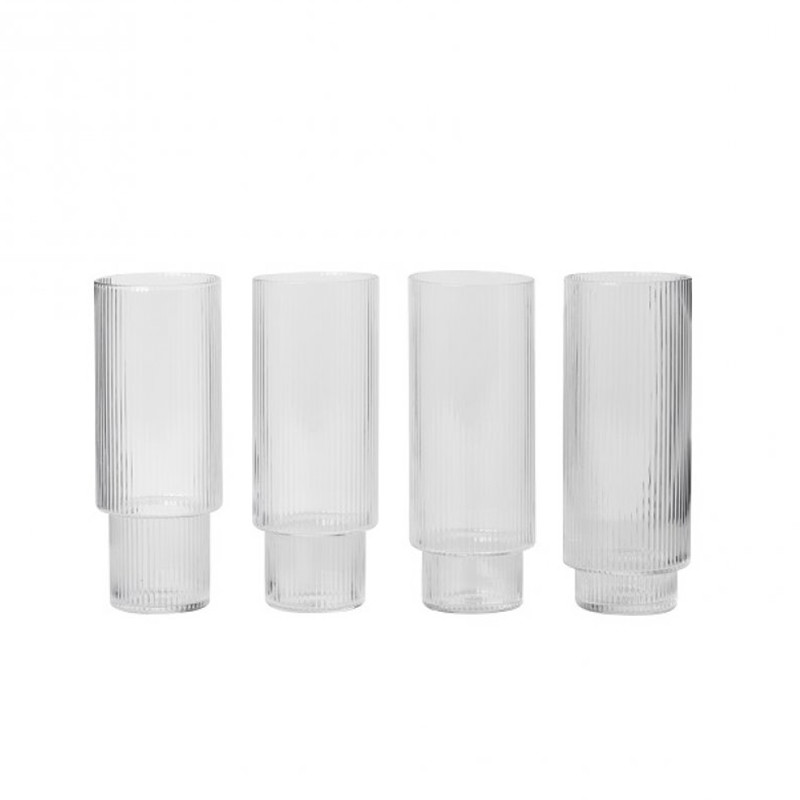 Ferm Living Glas, Ripple Long Drink Glasses