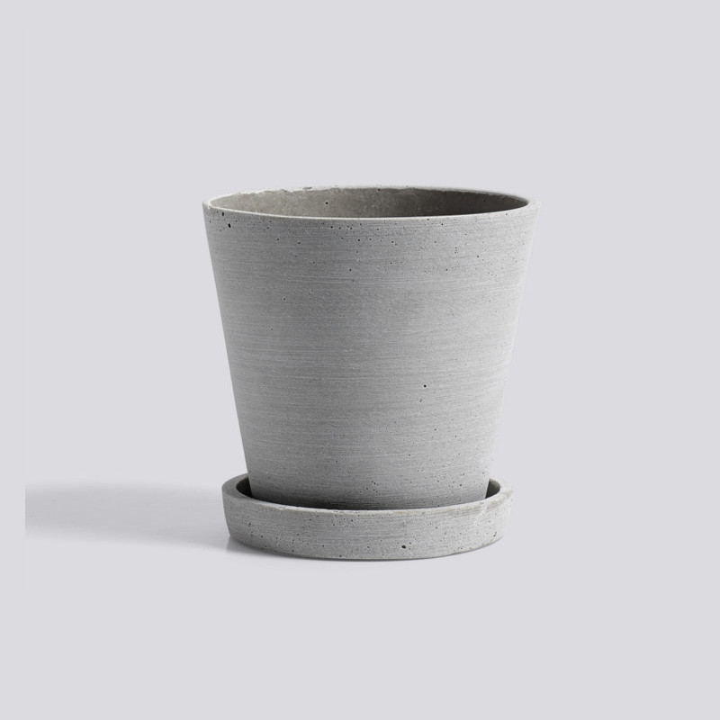 HAY Flowerpot Urtepotte Med Underkop Grå