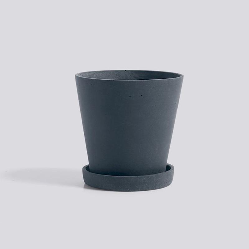 HAY Flowerpot Urtepotte Med Underkop Mørkeblå