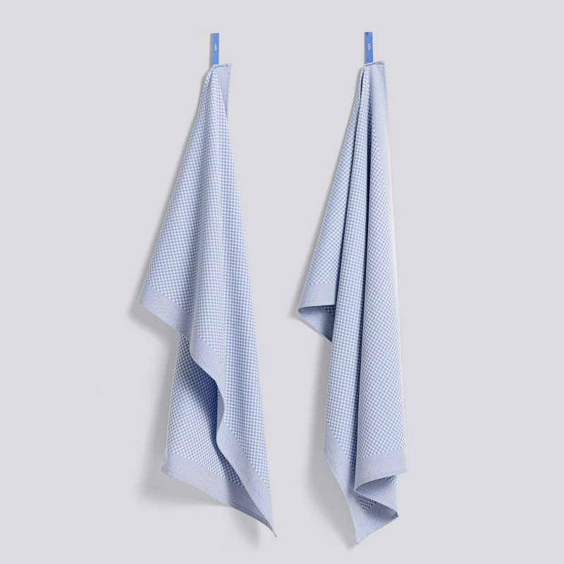 HAY Tea Towel Check Viskestykker Lyseblå