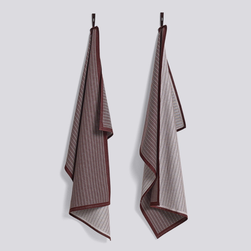 HAY Tea Towel Grid Viskestykker Bordeaux