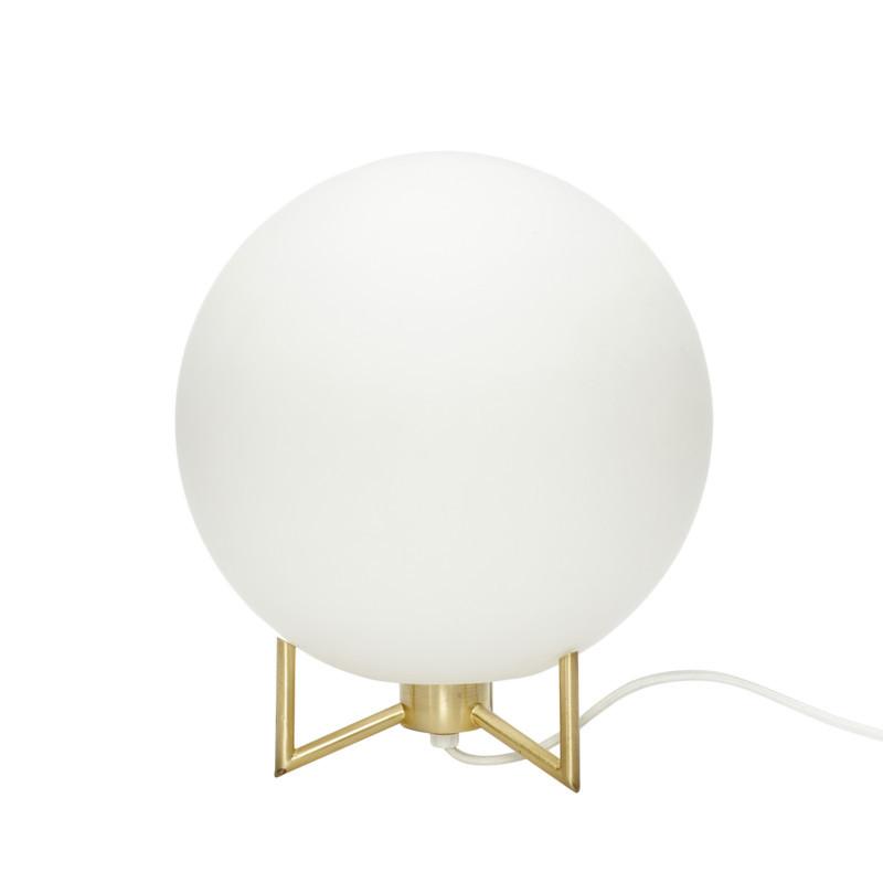 Hübsch Bordlampe Hvid Glas, Messing