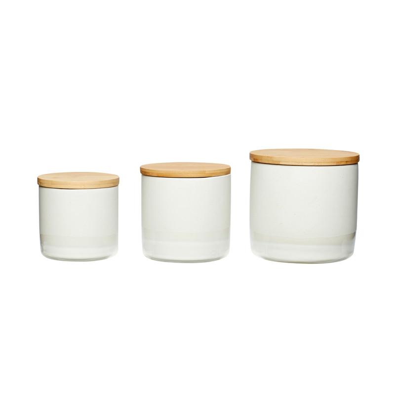 Hübsch Opbevaringsdåser m. Trælåg, Keramik