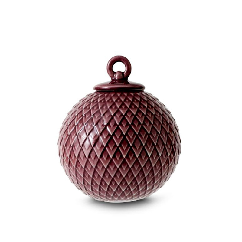 Lyngby Porcelæn Rhombe Dekorationskugle Bordeaux
