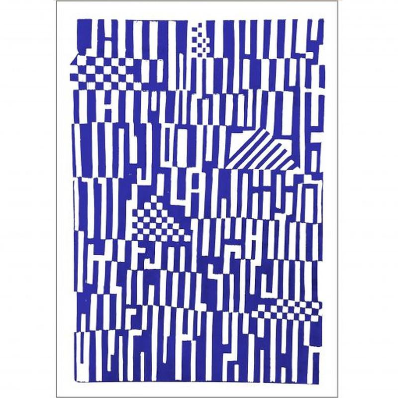 Monika Petersen Poster Print Pattern Blå/Hvid 50x70