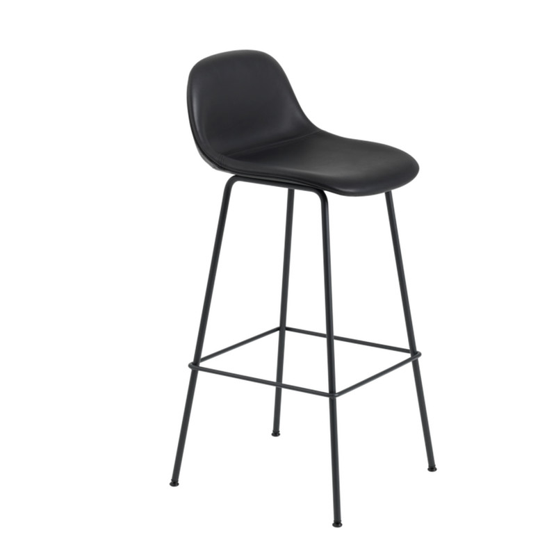 Muuto Fiber Bar Stool Tube Backrest Black Silk Læder