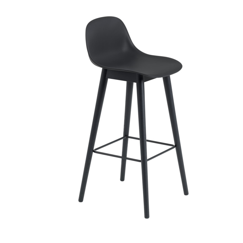 Muuto Fiber Bar Stool Wood Base Backrest Sort