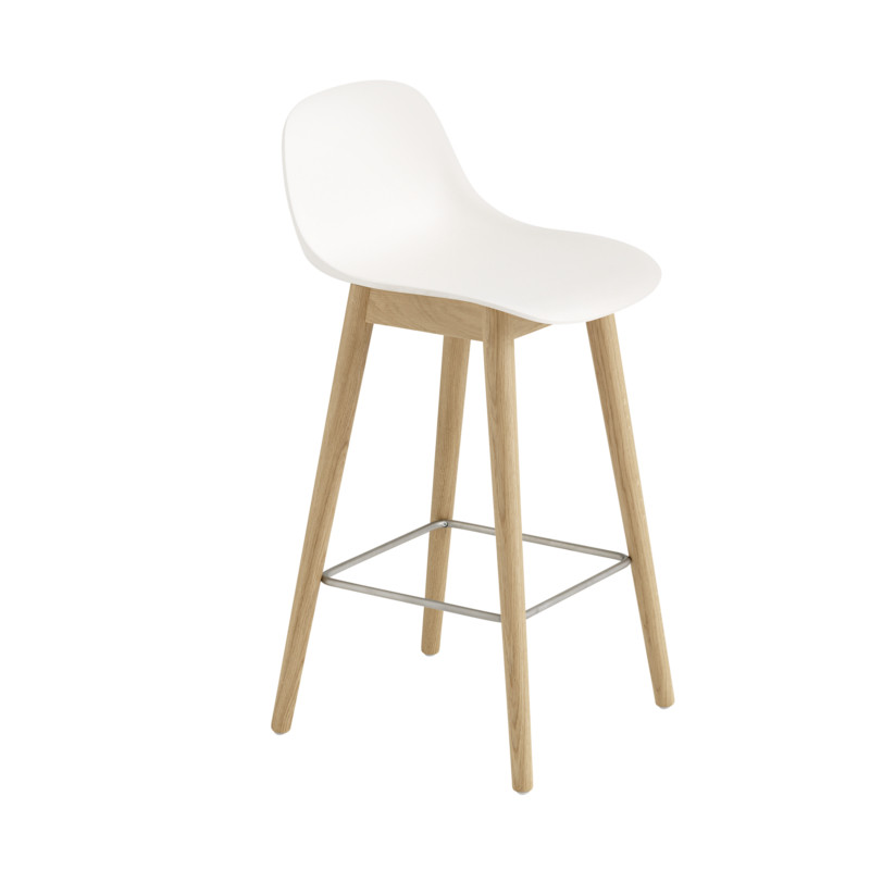 Muuto Fiber Bar Stool Wood Base Backrest Hvid