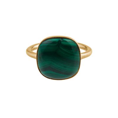 Pernille Corydon Malachite Ring Justerbar Forgyldt