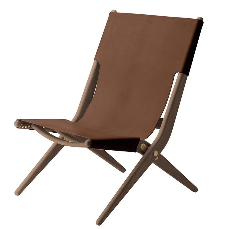 Saxe stol fra By Lassen i mørk olieret eg med brun læder