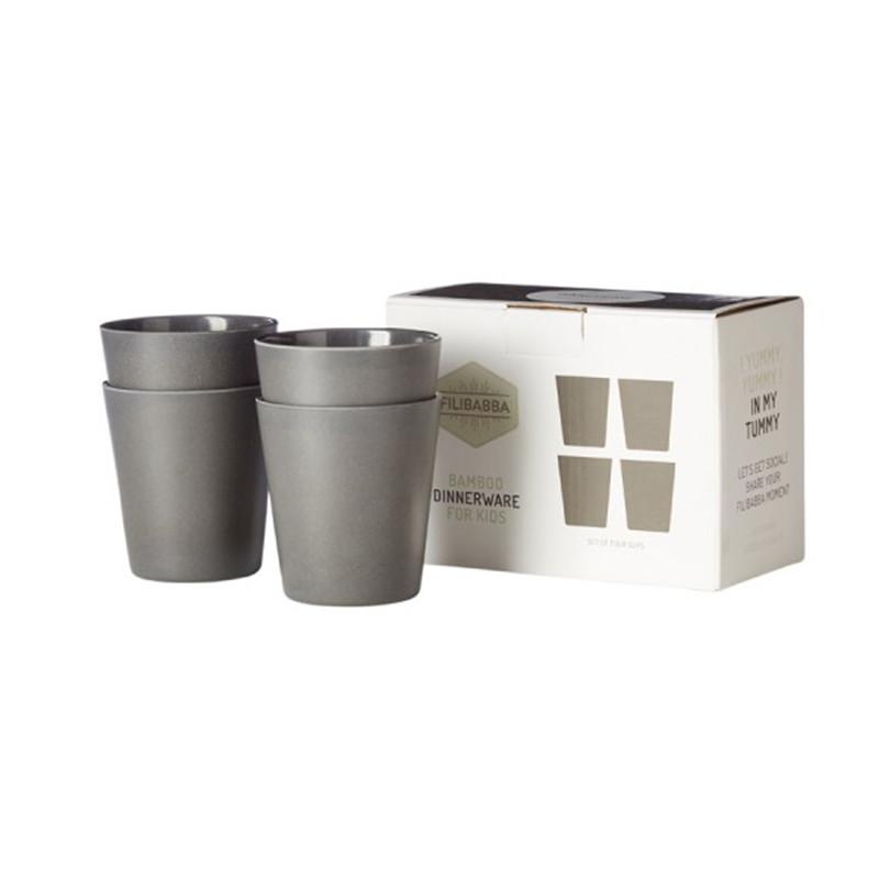 Filibabba Bambus kop, Sæt med 4 i dark grey