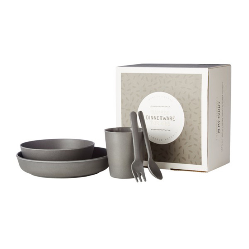Filibabba Bambus spisesæt - Dark grey