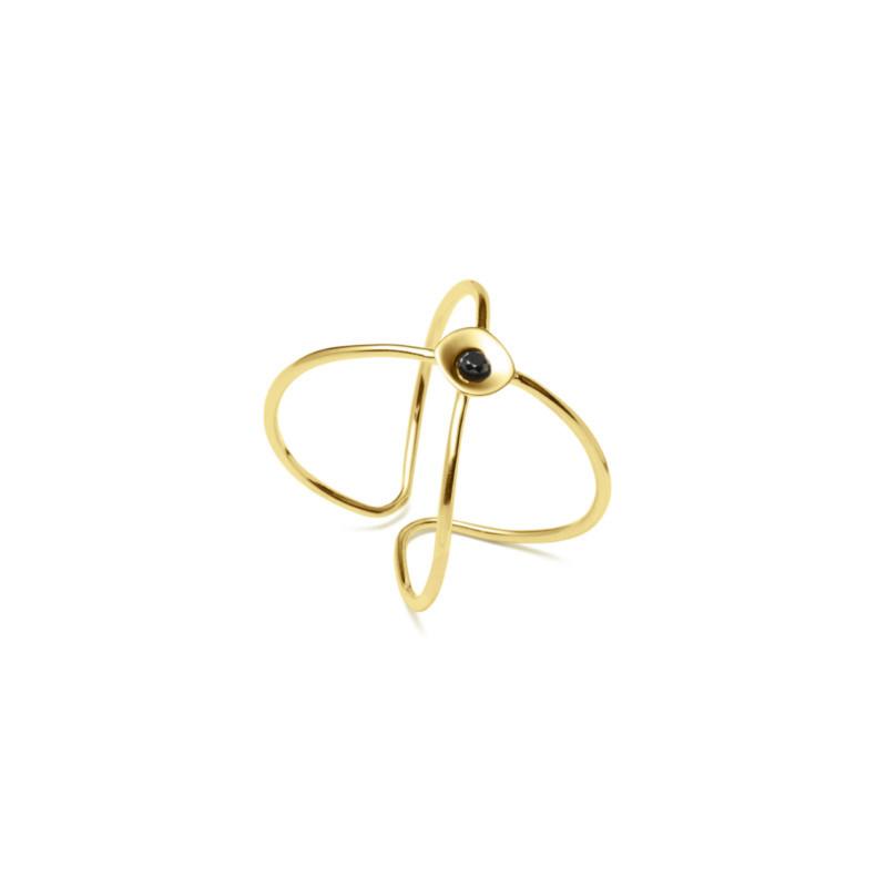 Louise Kragh Ring Embrace Guld-Sort