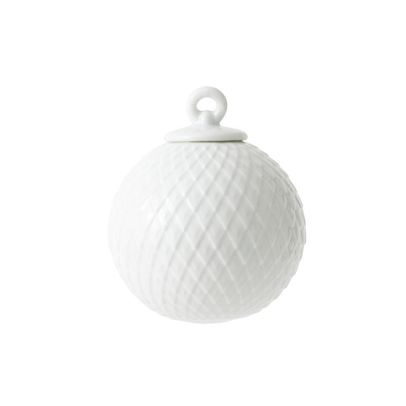 Lyngby Porcelæn Rhombe Dekorationskugler Hvid