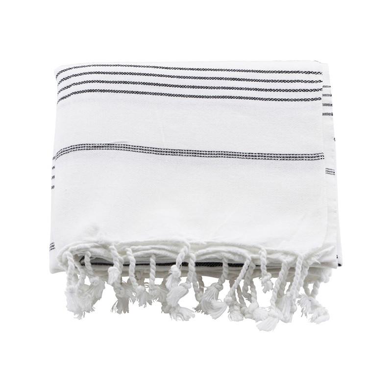 Meraki Hammam håndklæder, Hvid m. sort stribe