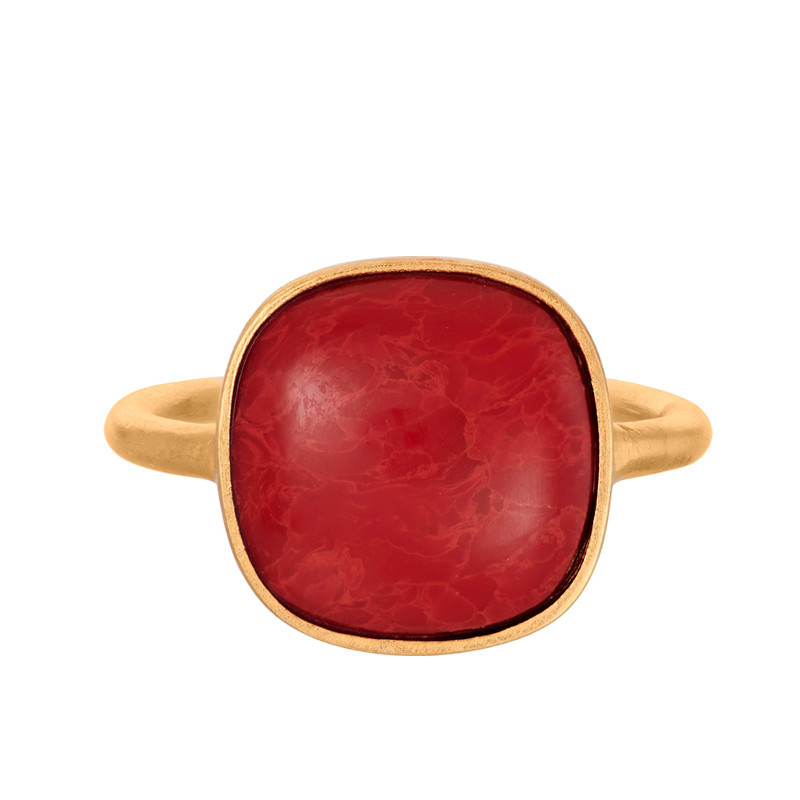 Pernille Corydon Ring Coral Forgyldt