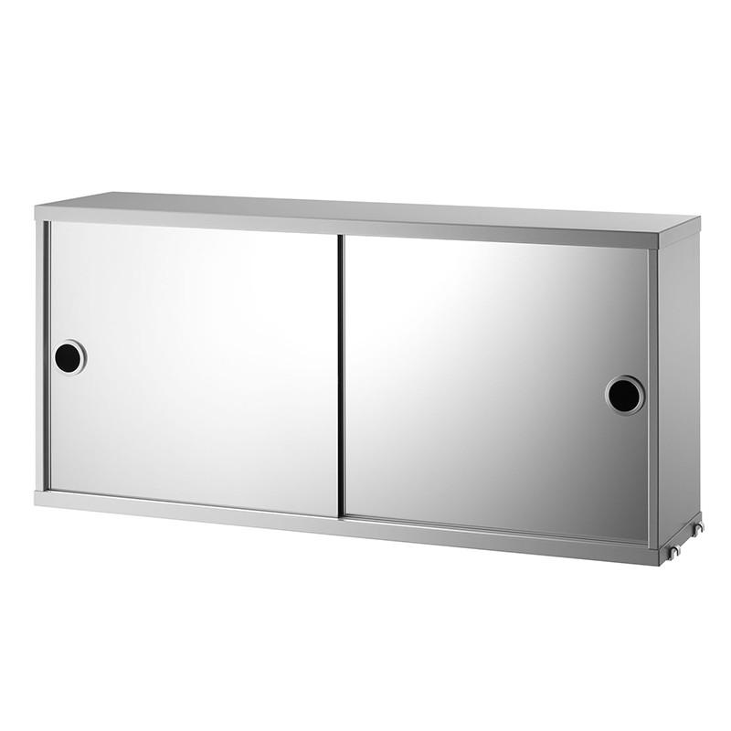 String Kabinet med Spejllåger grå 78 x 20 cm