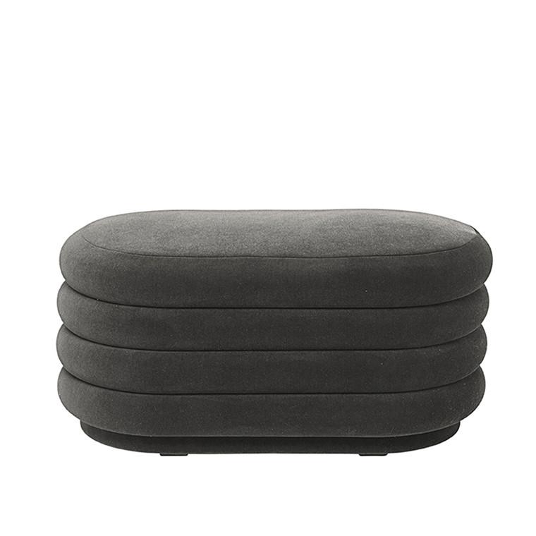 Ferm Living Pouf Oval, medium, grå