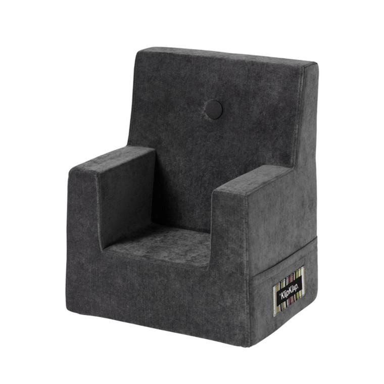 By KlipKlap kk Kids Chair Velvet Antrasit Grå m Grå Knap