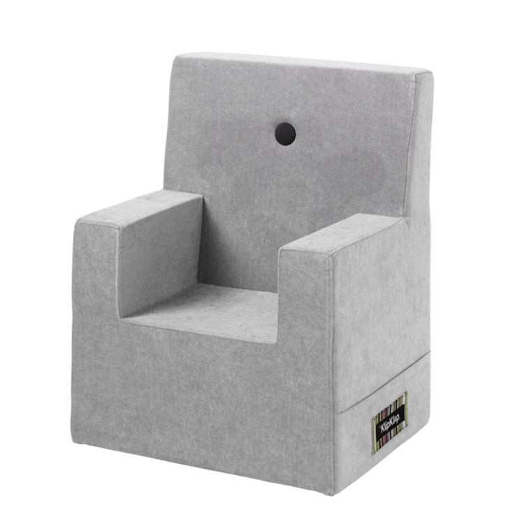 By KlipKlap KK Kids Chair XL Velvet Argent Grå m. Grå Knap