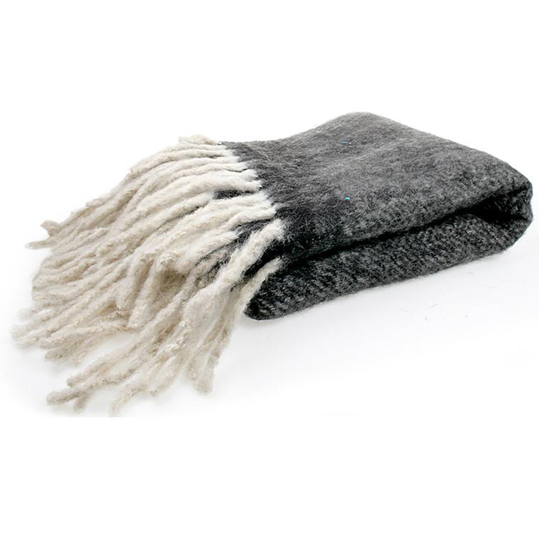 Cozy Room uldplaid Koks grå med frynser