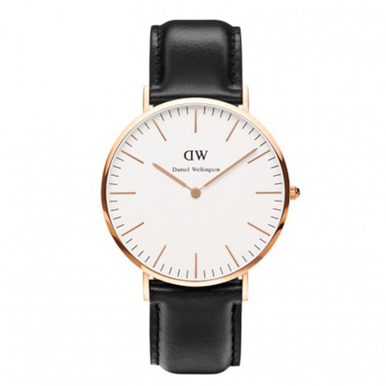 Daniel Wellington Ur Classic Sheffield Gent sort - rosa