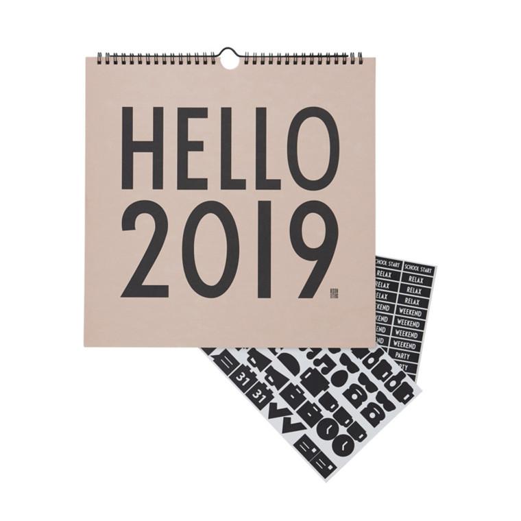 Design Letters Vægkalender 2019 Nude