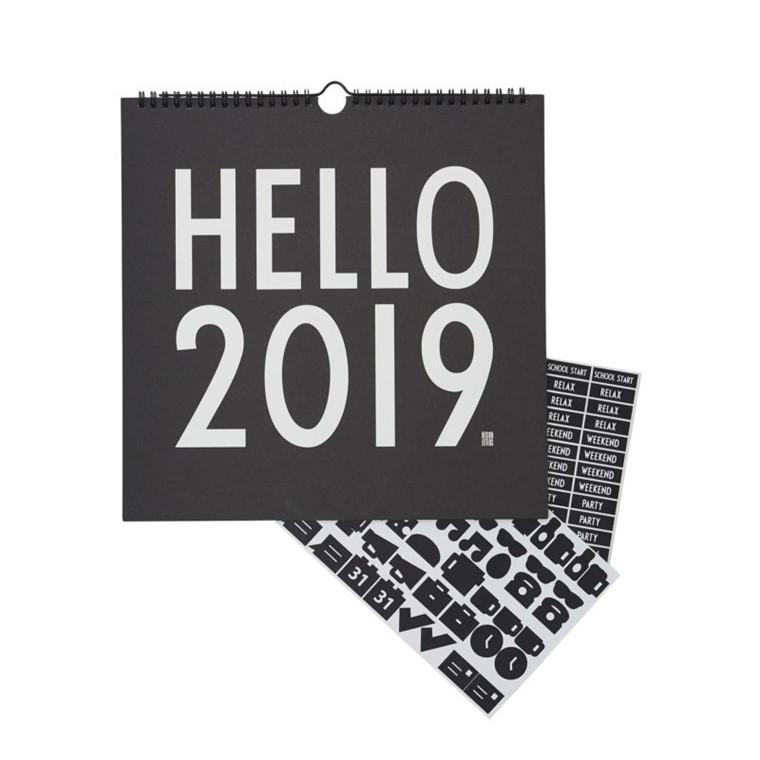 Design Letters Vægkalender 2019 Sort