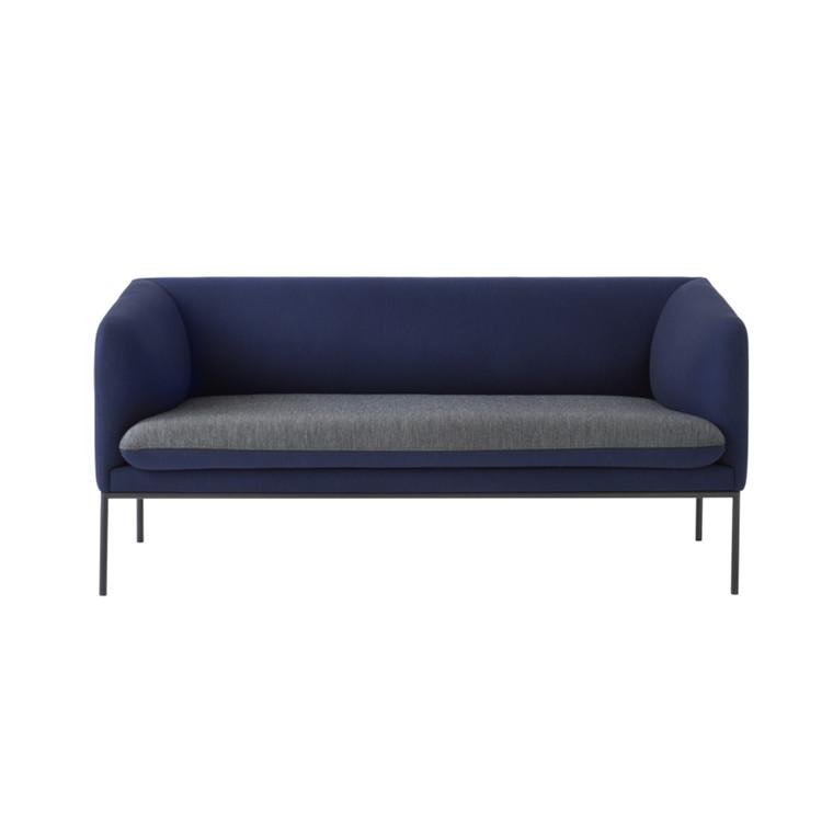 Ferm Living Turn Sofa Wool Dark Blue Seat Light Grey