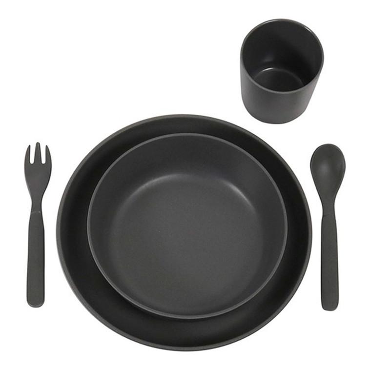 Filibabba Spisesæt Bambus Mørk Grå
