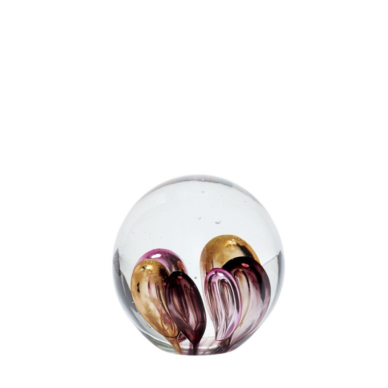 Hübsch Brevpresser Glas, Pink/Brun/Lilla