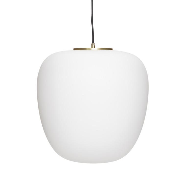Hübsch Lampe Glas, Hvid/Messing
